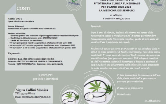 Percorso formativo di Fitoterapia Clinica Funzionale
